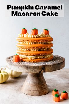 Pumpkin Caramel Macaron Cake #pumpkin #caramel #macaron #cake #frenchmacaron #macaroncake Best Food Photography, Cake Photography, Easy Desserts, Delicious Desserts, Dessert Recipes, Dessert Ideas, Cake Recipes, Sugar Cookie Royal Icing, Sugar Cookies
