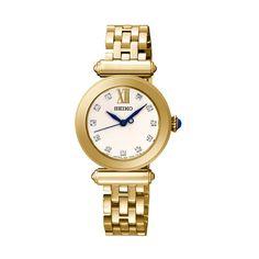Seiko SRZ402P Gold Tone Stone Set Ladies Watch image-a