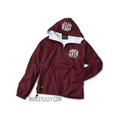 Monogrammed Maroon Pullover Rain Jacket ($40) ❤ liked on Polyvore featuring outerwear, jackets, monogrammed pullover, purple rain jacket, pullover rain jacket, purple pullover and maroon jacket