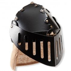 Knight's Helmet with jute neck flap and movable visor. Made in Germany. From Bella Luna Toys.