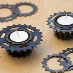 Bicycle Freewheel Tealight Holders  Set of 2 by julienjaborska