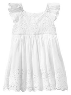 Would make a sweet and simple baptism dress. Paddington Bear™ for babyGap eyelet flutter dress | Gap #myhenhousecelebration