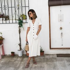 Ms Treinta - Blog de moda y tendencias by Alba. - Fashion Blogger -: JAVEA: LINEN & BUTTONS DRESS