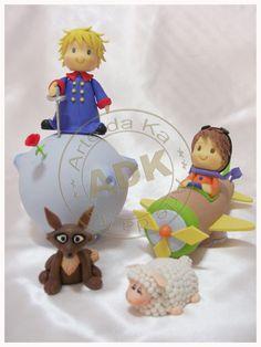 The Little Prince cake topper Royal Icing Cakes, Fondant Cakes, Cupcake Cakes, Little Prince Party, The Little Prince, 1st Birthdays, First Birthday Parties, Prince Cake, Fondant Figures