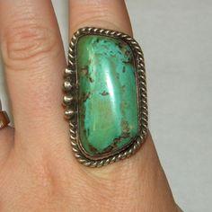 HUGE Vintage Navajo Indian Turquoise Sterling Ring, Signed LDL, Size 10.5  Jen-n-i Vintage Jewels Exclusive to Ruby Lane