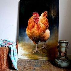 Chickenpainting by Nanouk Weijnen Rooster Painting, Rooster Art, Chicken Painting, Chicken Art, Arte Do Galo, Beautiful Chickens, Farm Art, Cow Art, Animal Posters