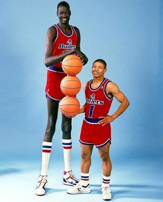 Manute Bol and Muggsy Bogues, the tallest and shortest NBA players (both in Baltimore Bullets), 1987.