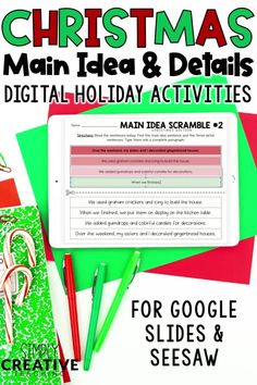 Use these DIGITAL (Google Classroom and Seesaw) Christmas main ideas and supporting details activities to teach 1st, 2nd, and 3rd grade students how to identify the main idea and retell key details of a text.  Includes digital activities for building a paragraph, main idea scramble, reading passages, main ideas puzzles, graphic organizers, and MORE! These digital differentiated activities are perfect for centers or anchor charts and will keep students engaged and learning all December long.