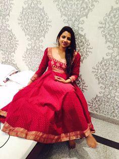 An old saree turned into a lovely Anarkali...from creative Sreelakshmi Prakash for Fucshia
