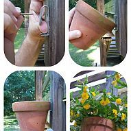 How to hang clay pots I think this would work well whether hanging on a fence, deck or even a tree similar to the one pinned on Hometalk G...