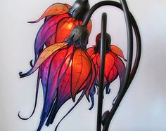 Three Lilies silk art nouveau lamp by littlewingfaerieart
