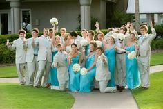 aqua white gold wedding I love the bridesmaids dresses!