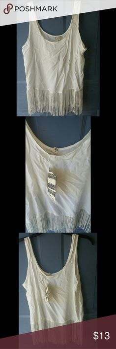 💙  Fringe Tank Super cute fringe tank NWT size small  *1st picture is for style ideas (not actual tank) *cross posted Tops Tank Tops