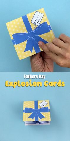"A fun pop up ""explosion"" card to make for fathers day. This printable template includes 4 full colour art designs with different name options eg: Dad, Pop, Grandpa etc. There is also a line art version so you can colour your own to personalise it for Dad. Fathers Day Crafts, Diy Crafts For Gifts, Fathers Day Ideas, Happy Fathers Day Cards, Tarjetas Diy, Karten Diy, Origami Fashion, Diy Fashion, Paper Crafts Origami"