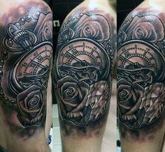 Roman Numeral Clock Tattoos For Men