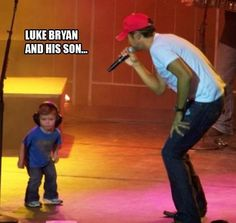 Luke Bryan and son who's shirt is incredible