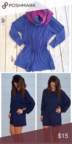 ✨ Boutique ✨ Super Soft Long Sleeve Romper Navy blue romper. Super soft material 💘 Pants Jumpsuits & Rompers