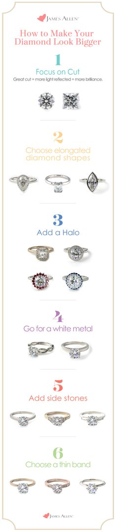 Who ever said that size matters? You can get the 'wow' effect with any sized diamond. When designing an engagement ring, enhance your diamond and get the most value with these tips and tricks. | Go to JamesAllen.com to design the perfect engagement ring and browse diamonds in 360° HD.