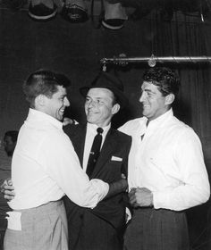 Jerry Lewis, Frank Sinatra and Dean Martin - oh rare photo for them days...with Frank present.....MR --undated.