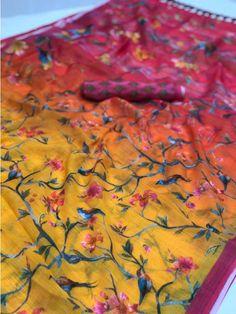 Designer Sarees Online, Silk Sarees Online, Bird Prints, Flower Prints, Silk Sarees With Price, Printed Linen, Printed Sarees, Saree Blouse Designs, Saree Collection