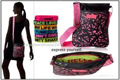 "Zumba ""Hello Gorgeous"" Crossbody Bag Tote ~Stylish & Hip w 2 Pcs!.~ Great Gift!  #ZumbaFitness #MediumCrossBodyBag"