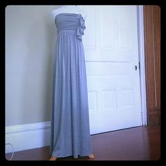 Reduced!! Tinley Road jersey strapless maxi dress Soft grey jersey maxi dress with stylish ruching and ruffle detail at bust. never worn, without tags Tinley Road Dresses Maxi