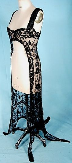 """c. 1912 Black Net Beaded and Embroidered Overdress - 34"""" bust (you will need to add some snaps or hooks/eye or pin closed at the bustline..."""