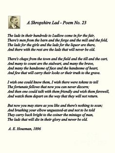 The lads in their hundreds, by A E Housman