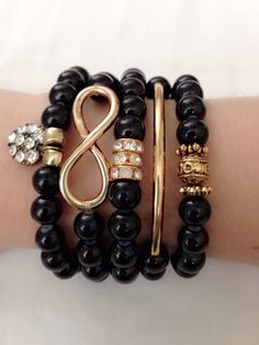 Black beads bracelet set