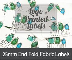 Logo Printed Cotton End Fold Fabric Labels//Custom//Height Lengths//Handmade//Sewing Label//Garment Label Sewing Labels, Fabric Labels, Custom Printed Fabric, Printed Cotton, Custom Labels, Custom Logos, Solid Color Backgrounds, Business Logo Design, Ecru Color