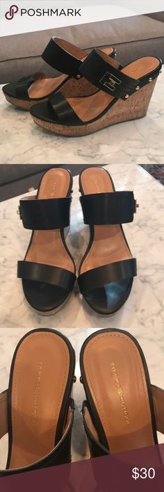 Tommy Hilfiger wedges Black and gold wedges in great used condition! Tommy Hilfiger Shoes Wedges