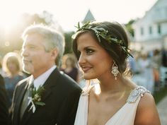 Hannah wore an amazing olive branch crown on her wedding day. | Photo by Jonas Seaman Photography