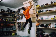 Gallery: A Day at the Office with the Swiss Machine - VICE Man Cave Gear Room - A Day at the Office with the Swiss Machine Ueli SteckMan Cave Gear Room - A Day at the Office with the Swiss Machine Ueli Steck Home Climbing Wall, Indoor Climbing, Rock Climbing Gear, Garage Storage, Camping Storage, Art Storage, Camping Gear, Backpacking Meals, Urban Survival