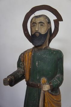 Remarkable art style of a santo from  a bygone era antedating modern trend in sculpture. Origin is from the Povince of Sorsogon, Philippines