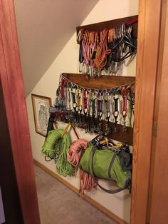Climbing gear storage idea