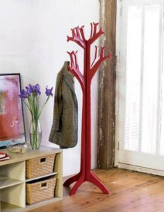 How to make a coat tree.  Great for backpack and jackets in an outdoor themed/camping bedroom.