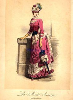 Walking dress, 1880's France, La Mode Artistique