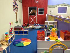 half walls to separate daycare from preschool.... good idea. adults can see over the top but kids cant.