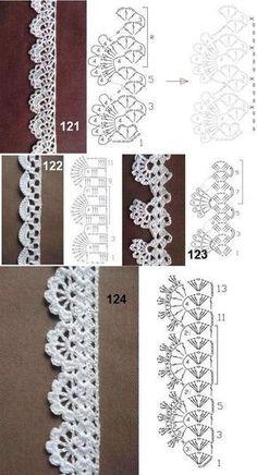 Crochet Edging Patterns, Crochet Lace Edging, Crochet Motifs, Crochet Borders, Crochet Diagram, Crochet Chart, Crochet Trim, Crochet Designs, Crochet Doilies