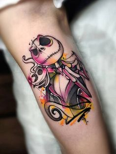 """Cristian Carrión > The Nightmare Before Christmas Disney Tattoos, Nerdy Tattoos, Disney Inspired Tattoos, Tattoo Drawings, Body Art Tattoos, Sleeve Tattoos, Tattoo Ink, Tatoos, Jack Tattoo"