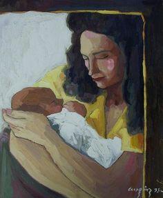 Bernardo CRESPIN : Sin titulo (Maternidad) ; 1995 ; oleo ; 63cm x 52cm ; colección MDAA (adquirido de la galería Humberto Saravia)