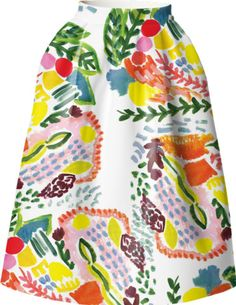 Custom made and printed, Des Fleurs (the flowers) covers entire skirt, front and back, in a colorful and vibrant pattern