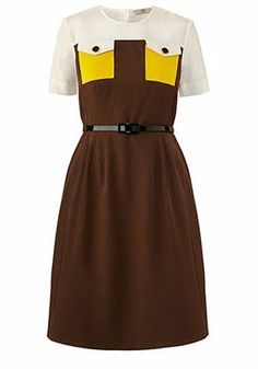 Orla Kiely Ottoman Shift Dress Walnut