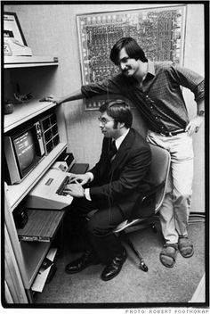 Jobs with Steve Wozniak in 1979, posing for Life magazine with the Apple II, Apple's first breakthrough product.
