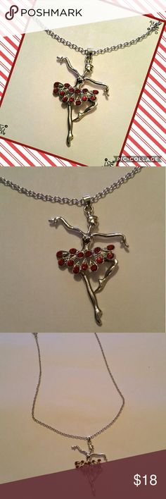 """Beautiful Red & Silver Dancing Ballerina Necklace ❤❤💣💣❤❤💣💣Brand new,  Beautiful and Classy Red & Silver Dancing Ballerina Pendant Necklace.💣💣❤❤💣💣❤❤💣💣❤❤ ❤Condition: 100% brand new & high quality  💣Material: Rhinestone & Alloy ❤Necklace Length : Approximately 16""""  💣💣💣Quantity 1pcs Set Fashion Ballerina Necklace Jewelry Necklaces"""