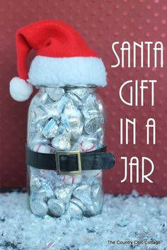 """Santa gift in a jar -- can be made in minutes for a budget gift that is adorable! After all we all love mason jars! """" Jar Gifts Gifts in a Jar """" Diy Gifts In A Jar, Easy Diy Gifts, Mason Jar Gifts, Craft Gifts, Food Gifts, Gift Jars, Simple Gifts, Homemade Christmas Gifts, Xmas Gifts"""