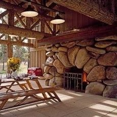 Giant boulder outdoor fireplace!!!