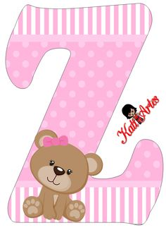 z is for zoe. Letter E Craft, Alphabet Letter Templates, Alphabet And Numbers, Baby Shower Clipart, Scrapbooking Freebies, Personalised Frames, Cartoon Girl Drawing, Baby Shawer, Bear Party
