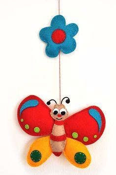*FELT ART (plush) ~ IKO Plush Butterfly Baby Mobile - Baby Crib Mobile - Nursery Butterfly Mobile - Felt Mobile - Colorful Butterfly Plush Stuffed.