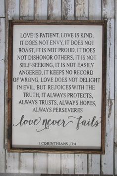 Love is Patient, Love is Kind. Corinthians Verse. Wedding Gift. Wood Signs. Rustic Signs. Wooden Sign. Gift under 100. Farmhouse Decor. by WilliamRaeDesigns on Etsy